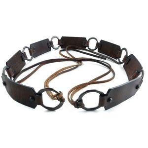 AEO Brown Leather Belt with Metal Rings
